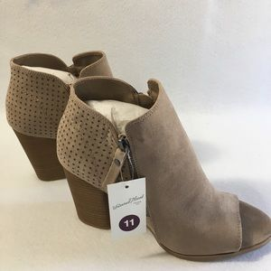Taupe/Collie Open Toe Cut Heeled Bootie Sz. 11